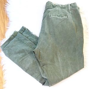 Gap Olive Green Faded Girlfriend Chinos Size 14